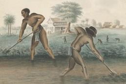 Tot slaafgemaakte mannen graven trenzen
